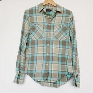 Ralph Lauren Polo Flannel Gray Blue Plaid Shirt